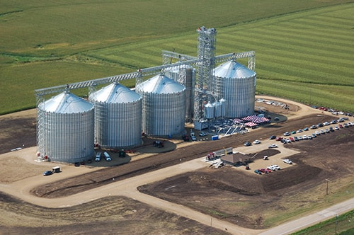 Commercial grain bins in the Midwest